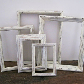 Shabby Chic Picture Frame Set Of 5 White Wall Decor
