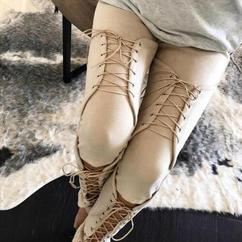 Suede Lace-Up Pants