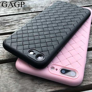 for iphone 8 Plus Case Leather Skin Soft Silicone Black Accessories Pink Coque Cover Case for iphone 8 plus iphone 7 Plus Case