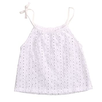 New Fashion Toddler Baby Girl Openwork Crochet Lace Blouse Newborn Kids braces Tank Tee