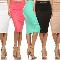 Career Fitted Chain Embellishment Belted Stretch Pencil Midi A-Line Bodycon Skirt