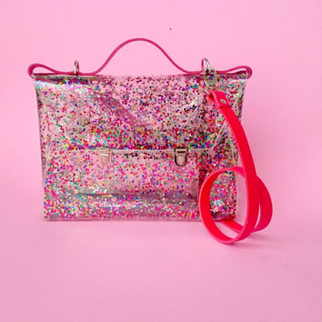 Sequins bag confetti bag messenger transparent satchel 90's glitter brief glitters sequins jelly rainbow purse evening bag party colorfull