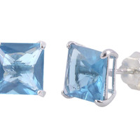 Square Blue Topaz CZ December Birthstone Stud Earrings .925 Silver Basket Set