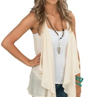 Flying Tomato Women's Cream with Lace & Crochet Inset Vest