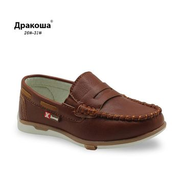 Apakowa 2017 Children shoes spring autumn Toddler Little Boys loafers shoes kids Slip-on PU leather kids casual shoes