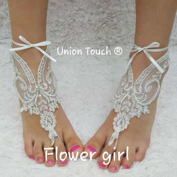 Barefoot Sandals, Flower Girl Barefoot Sandals, Christening Sandals, Baby Shower Gift, Kids Barefoot Sandals, Baptism Sandals