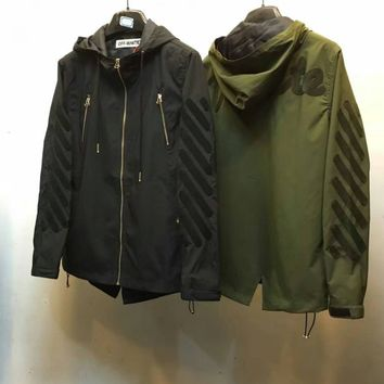 ca kuyou 2016 Off white army military green fish tail hoody windbreaker jacket outerwear with back embroidery