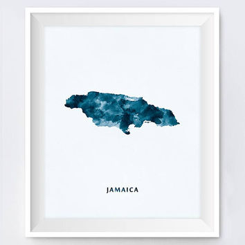 Jamaica, Watercolor, Map of Jamaica, Art Print, Wall Art, Kingston Poster, Wall Decor Watercolor Map Office Home Decor Gift Digital Download