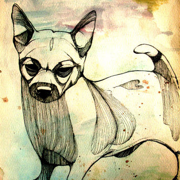 pen&ink, watercolor, animal totem art, high-quality giclee print, chihuahua line drawing, neutral tones art, kids room art, Chinese zodiac