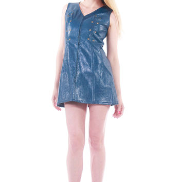 60s Vintage Vinyl Vegan Leather Mini Dress MOD Dark Blue Metal Zip Front Go Go Rare Clothing Womens Size Small Medium