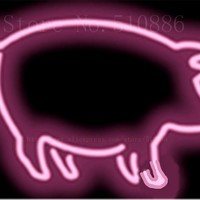 "Pig  Meat Glass Tube neon sign Handcrafted Light Bar Beer Pub Club signs Shop Store Business Signboard signage 17""x14"""