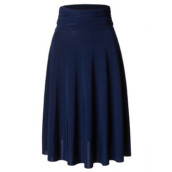 Stretchy Flared Midi Skater Skirt