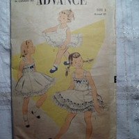 Complete 1930's-40's Advance Sewing Pattern, 7006! Size 2 Toddler/Girls/Full Flared Sundress/Sleeveless/Double Ruffle Skirts/Slip/Panties