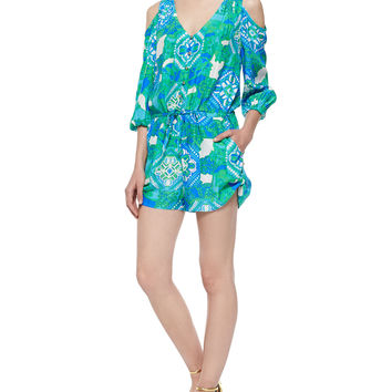 3/4-Sleeve Cold-Shoulder Printed Short Jumpsuit, Size: