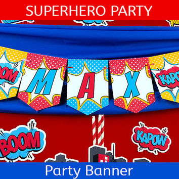 Superhero Party Banner / Superhero Birthday Banner /