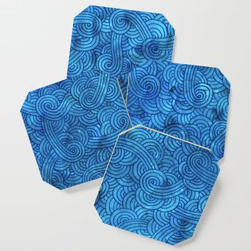 Turquoise blue swirls doodles Coaster by savousepate