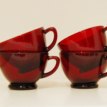 Cranberry  Red Glass Teacups Set of 4