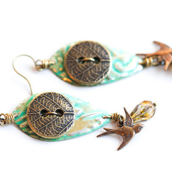 Sparrow Button Earrings, Teal Nature Jewelry, Button Jewelry, Hand Painted