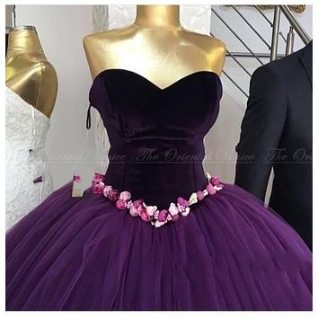 2017 Real Photo Arabic Purple Velvet Ball Gown Evening Dresses Couture Handmade Flower Princess Formal Prom Dress Robe De Soiree