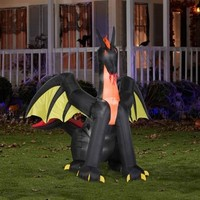 SheilaShrubs.com: Airblown Inflatable Animated Fire Dragon with Wings 64056 by Gemmy: Halloween