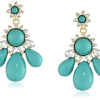 Lucite and Crystal Teardrop Turquoise Statement Earrings