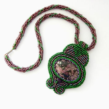 Beaded necklace brooch Cat's Dreams - green and purple embroidered and crochet seed bead jewelry - handmade beadwork with eudialyte stone