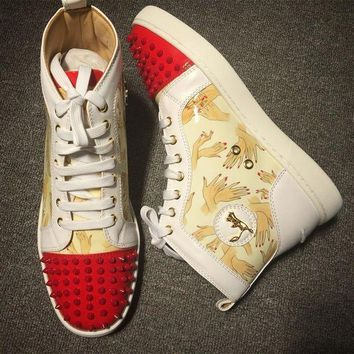 DCCK Cl Christian Louboutin Lou Spikes Style #2193 Sneakers Fashion Shoes