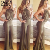 Brand 2016 Summer Elegant Womens Rompers Jumpsuit Casual Solid Bodysuit Sleeveless Backless Halter Neck Long Playsuits Plus Size