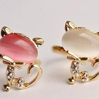 Kitty Gem Rhinestone Adjustable Ring