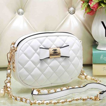 Chanel Cute Bow Mark PU&Metal Shoulder Bag Women Girl Small Round Bag B-OM-NBPF White
