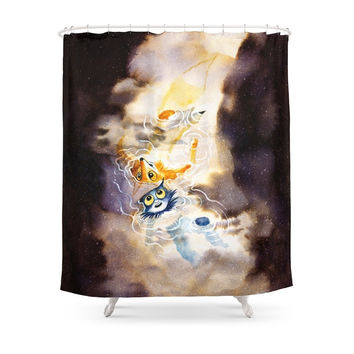 Society6 Little Owl Boy And The Milky Way Shower Curtain