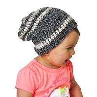 Charcoal Grey Specks with Cream Crochet Slouch Baby Beanie Any Size 0-8 Years Fitted or Slouchy style