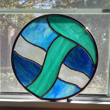 Abstract Blue Round Stained Glass Window Panel - Stained Glass Suncatcher - Ocean Waves - Coastal Decor - Nautical Decor - Beach Decor