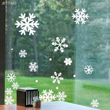 JETTING Winter Snowflake Wall Stickers Christmas Window Wall Decals Xmas Christmas Decoration Snow Window Stickers Flakes