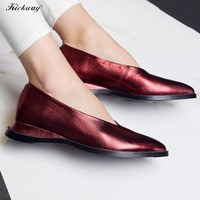Women wedge platform shoes slip on shoes for women 2017 Plus size 34-43 pointed toe wedding party shoes chaussure femme M61-2