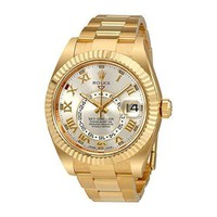 Rolex Sky Dweller Silver Dial Yellow Gold Oyster Mens Watch