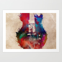 guitar art 6 #guitar #music Art Print by jbjart