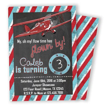 Chalk Vintage Airplane Invitation - Boy Birthday Time Flown By - Aviation Invite - Old Vintage Biplane Invitations - Red White and Blue