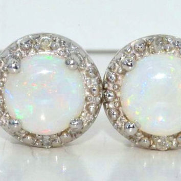 Genuine Australian Opal Diamond Stud Earrings .925 Sterling Silver Rhodium Finish White Gold Quality