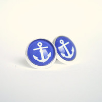 Blue Anchors Silver Glass Dome Studs Post Earrings