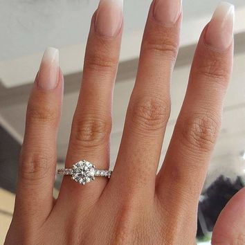 New Classic Crystal  Engagement Claws Design Rings For Women AAA White Zircon Cubic elegant rings Female Wedding Band  jewerly
