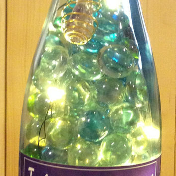 Goddess,  Wine Bottle Lights w/ Reiki Amethyst Stones Glass Beads Necklace (removable) , Battery Operated