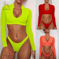 Peachtan Long sleeve brazilian swimsuit female Mesh neon bikini 2019 micro Sexy push up swimwear women bathing suit Thong beach