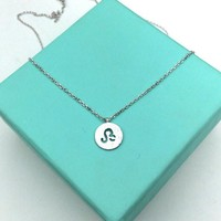 Dainty Circle Coin 12 Constellation  Leo  Necklace