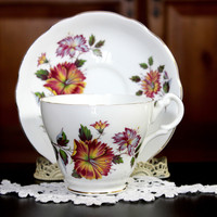 Tea Cup and Saucer,  English Bone China, Royal Ascot Vintage Teacup 12191