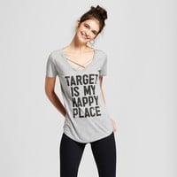 Women's Target is My Happy Place Short Sleeve Cross Front Drapey Graphic T-Shirt - Awake Gray