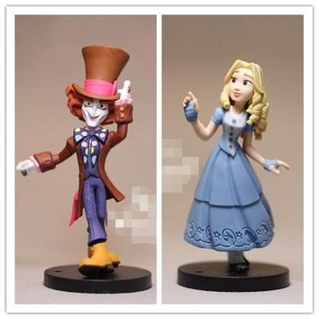 1pcs 9cm Alice In Wonderland Action Figures Mad Hatter Alice Doll Collection Figure Toy Loose Toy for kids Gifts
