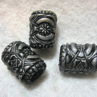 Dread Beads Silver Metallic Embossed Dreadlock  Beads  Set of 3   You Choose Hole Size
