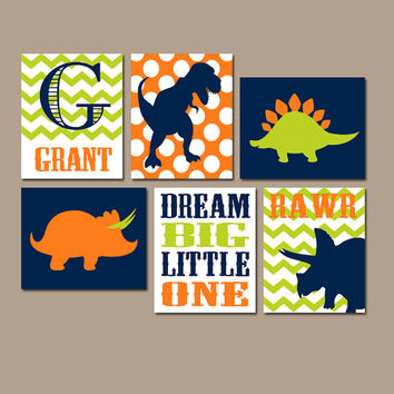 DINOSAUR Wall Art Canvas or Prints Boy DINOSAUR Name Rawr Baby Boy Nursery Wall Art Boy Bedroom Pictures Boy Boy Artwork DINO Set of 6 Decor