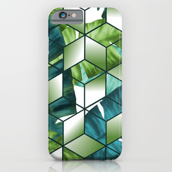 Tropical Cubic Effect Banana Leaves Design iPhone & iPod Case by oursunnycdays